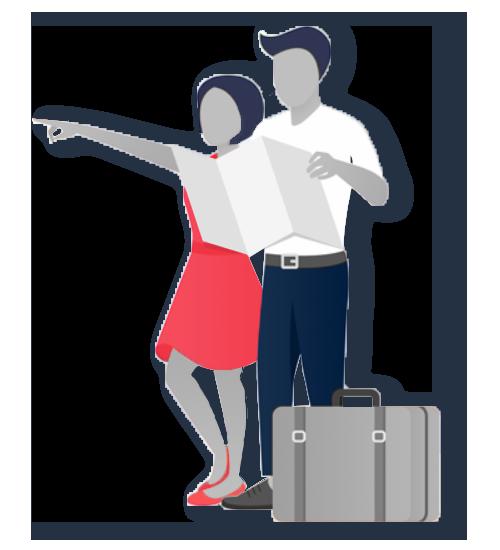 Couple en train de voyager